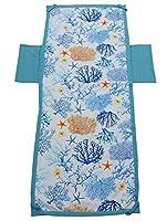 telo mare per lettino microfibra con tasche laterali bordino bicolore fantasia corallo colore celeste