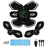 MOREASE Ceinture Abdominale Electrostimulation,Electrostimulateur Musculaire EMS USB Rechargeable avec Ecran LCD, pour Perdre...