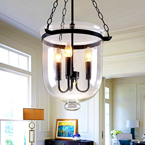 #Kronleuchter Pendelleuchten Retro Rustikale Klarglas Glocke Jar Chain Ceiling Pendelleuchte Mit 3 Kerzenlicht Restaurant Kronleuchter (Color : 25cm) (Klarglas Pendelleuchte 3)