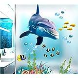 HALLOBO® XXL wandtattoo, wandtattoo, dolfijn, onderwaterwereld, marine, zee, wandafbeelding, woonkamer, slaapkamer, kinderkam