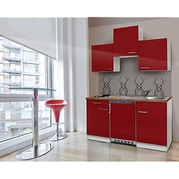 respekta single k che k chenzeile k chenblock 150 cm wei rot mit apl butcher nussbaum ceran. Black Bedroom Furniture Sets. Home Design Ideas
