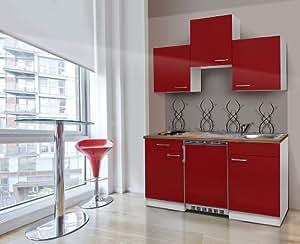 respekta kb150wr k chenzeile k chenblock single mini k che weiss rot 150 cm mit ger ten amazon. Black Bedroom Furniture Sets. Home Design Ideas