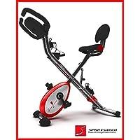 Sportstech F-Bike X100 & X150 Fitnessbike - X Bike - Home Trainer - patented resistance band system - Hand pulse sensors - Ergometer - exercise bike with tablet holder - Foldable Fitness Indoor bike