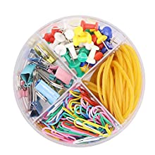4 in 1 Round Box Clip Stationery Set Includes Colored Binder Clips Rubber Bands Paper Clips Pushpins for School Office Supplies,Total 205 Pcs