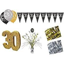 Set de decoración de fiesta 30cumpleaños Muñeco de 15piezas Mujer Oro Plata Deko Juego completo