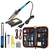 Elettronica per kit saldatore, Strumento per saldatura a temperatura regolabile 60W 110V, punte per saldatore 5pcs, pompa dissaldante, supporto per saldatore con custodia