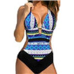 Traje de Baño de Las Mujeres, ❤️ Traje de Baño de una Pieza El Sujetador Más Nuevo Imprimió el Bikini de Bohemia Absolute (XL, Azul)