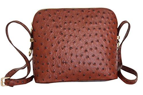 AMBRA Moda Damen Handtasche Umhängetasche Leder Tasche klein SL702 (Braun) (Straußenleder-tasche)