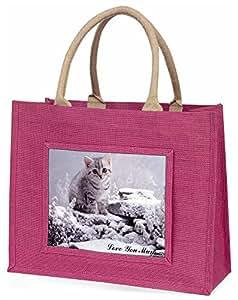 Advanta Silber Kätzchen, Love You Mum Große Einkaufstasche Weihnachten Geschenk Idee, Jute, Rosa, 42x 34,5x 2cm