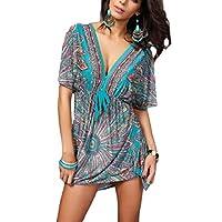 فستان الشاطئ النسائي من GAGA بأكمام قصيرة ورقبة على شكل حرف V فضفاض مطبوع أنيق متوسط الطول جريه مارل X-Large