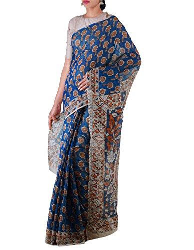 Unnati Silks Women Blue Pure Kalamkari Kota Cotton Saree(UNM22642)