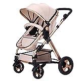 ZCJB Kinderwagen Baby-Pushchair / Two-Way kann sitzen Ultra-Light Falten Falten Vier-Wheeled Baby Trolley Champagner Gold Farbe Baby Trolley Kind