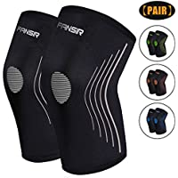 Knee Compression Sleeve Knee Support - Best Knee Brace for Crossfit, Jogging, Basketball, Sports, Injury Recovery, Knee Brace for Meniscus Tear, ACL & Tendonitis, Arthritis and Joint Pain (Pair)