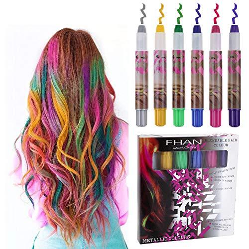 Philonext Hair Chalks Set - 6 bunte professionelle Wachs Haar Kreide Stifte ungiftig Metallic Glitter temporäre Haarfarbe, kein Durcheinander, funktioniert auf allen ()