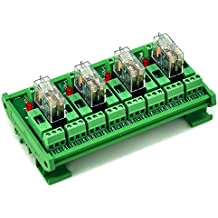 ELECTRONICS-SALON montaje en carril DIN fundido 4 DPDT 5 A Relé de potencia del módulo de interfaz, G2R -2 12 V DC relé