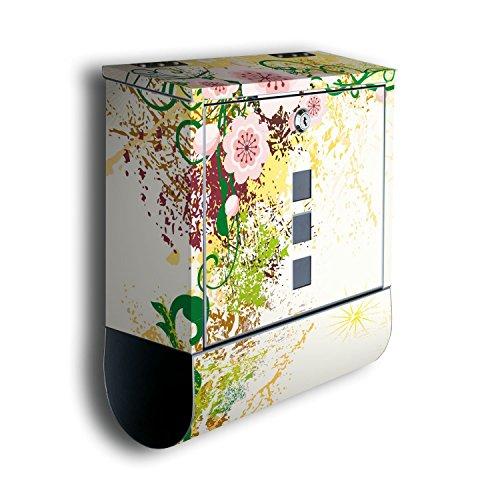 Briefkasten mit Deko Motiv: Luca BK189, Edelstahl Designer Postkasten mit Zeitungsrolle, Mailbox, Designbriefkasten, Postbox