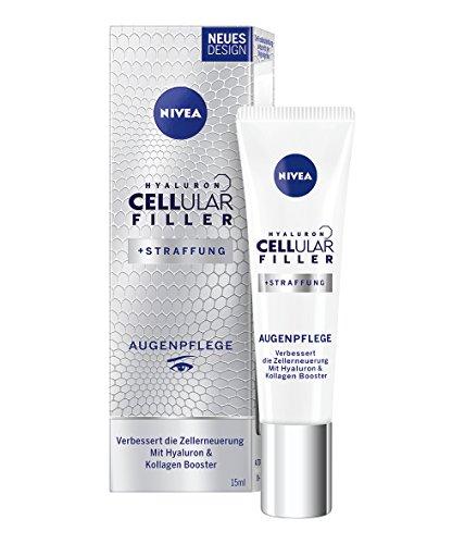 NIVEA Hyaluron Cellular Filler Anti-Age Augenpflege (1 x 15 ml), Augencreme mildert Falten und Linien mit Hyaluron, Anti Falten Creme für eine straffere Augenpartie -