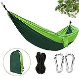 Hamaca Colgante 270*140cm 300kg Capacidad de Carga Ultra Ligera Nylón de Paracaída Portátil y Transpirable,Ideal para Viaje Jardín, Camping de Eastshining. (Color Verde)