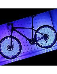 pamase 2paquetes impermeable bicicleta rueda luz–20LED lámpara tira de cuentas para bicicleta radios y llantas, azul