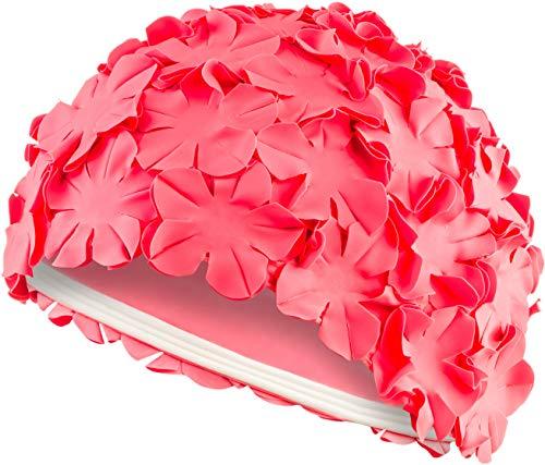 Aqua Speed Bloom Damen Retro Badekappe (70er Jahre Blumen Latex Gummi) Pink
