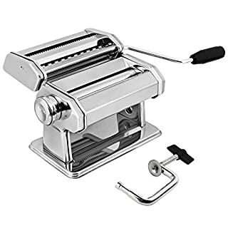 AMOS ® 3 in 1 Heavy Duty Stainless Steel Professional Fresh Pasta Lasagne Spaghetti Tagliatelle Maker Machine Cutter with 3 Cut Press Blade Settings with Table Top Clamp Kitchen Set (Silver)