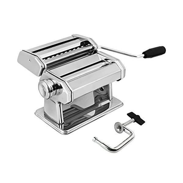 AMOS ® 3 in 1 Heavy Duty Stainless Steel Professional Fresh Pasta Lasagne Spaghetti Tagliatelle Maker Machine Cutter with 3 Cut Press Blade Settings with Table Top Clamp Kitchen Set 51dUXgKsV6L