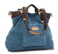 KISS GOLD(TM) Womens Casual Canvas Top-Handle Bag Shoulder Bag (Blue)