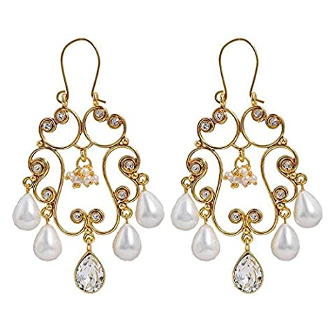 Maayra Women's Traditional Indian Jewelry Pearl Stone Chandelier Earrings