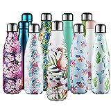 CMXING Bottiglia Termica, 500ml/ 750ml Doppia Parete Borraccia Acciaio Inox, Non Tossico BPA Gratuito Sport Borracce Bottiglia Acqua (Grande Fenicottero, 500ml)