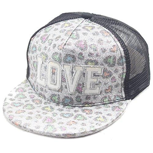 Belsen Kind Hip-Hop AFFE Mesh Cap Baseball Kappe Hut (Love silberweiß)