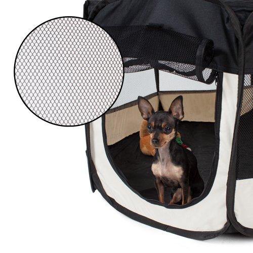 TecTake Welpenlaufstall Tierlaufstall für Kleintiere wie Hunde, Katzen – diverse Farben – (Schwarz) - 3