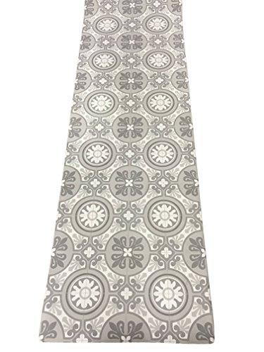 Lavelahome tappeto cucina a metraggio pvc largo 50 cm marmette (cementine grigio chiaro)