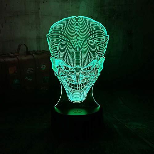 3D Nachtlicht Hallowmas Lächeln Jack Clown Led 7 Farbwechsel Home Decor Illusion Neuheit K Kind Tischlampe Freund Familie Geschenk