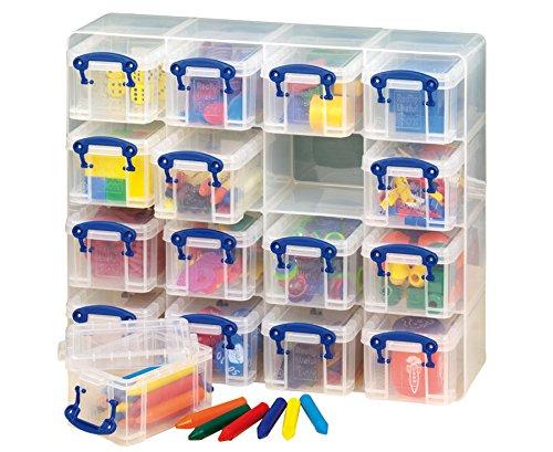 Ordnungsregal, 16 Boxen ( je 0,3 l ) für Bastelmaterial, Spielzeug - Ordnungshelfer Aufbewahrungsboxen Aufbewahrungsregal Schule Kindergarten Basteln Regal Kinder Ordnung Aufbewahrung
