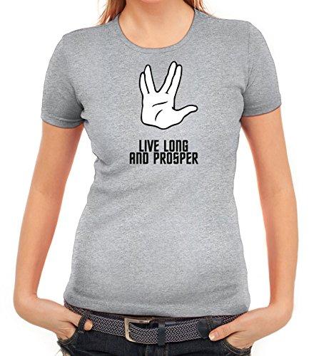 Kult Serie Damen T-Shirt mit Live Long And Prosper Motiv von ShirtStreet Graumeliert