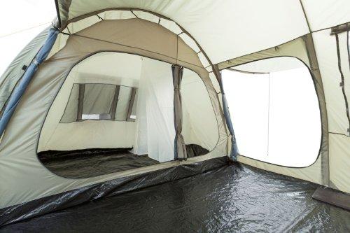CampFeuer Campingzelt für 4 Personen | Großes Familienzelt mit 3 Eingängen und 5.000 mm Wassersäule | Tunnelzelt | olivgrün | Gruppenzelt | So macht Camping Spaß! - 7