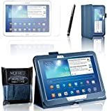MOFRED® Royal Blue Samsung Galaxy Tab 3 - 10.1 inch Case-MOFRED® Retail Packed Executive Multi Function Standby Case with Built-in Magnet for Sleep / Wake Feature For the Samsung Galaxy Tab 3 10.1 inch Tablet + Screen Protector + Stylus Pen (Available in Mutiple Colors)