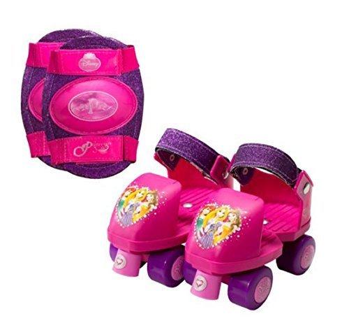 Roller Skates Girls Disney Princess Adjustable Junior Roller Skates and Knee Pads J6-J12 by Disney Princess Adjustable Junior roller Skates -