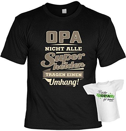 T-Shirt für den besten Opa: Opa. Nicht alle Superhelden tragen einen Umhang! - Geschenk für besondere Anlässe - SET mit gratis Mini Shirt - schwarz Schwarz