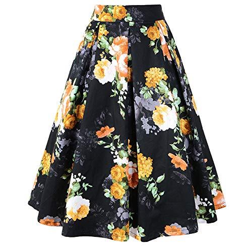 Xinqiao Frauen Print Floral Hohe Taille Gefaltete Midi A-Linie Röcke mit Taschen (X-Groß, Gelbe Blume) Scoop Neck Sleeveless Rock