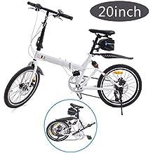 Ridgeyard Bicicleta plegable 20 pulgadas de 6 velocidades Bici plegable + Luz de la batería del LED + asiento bag + Bell de la bici (Blanco)