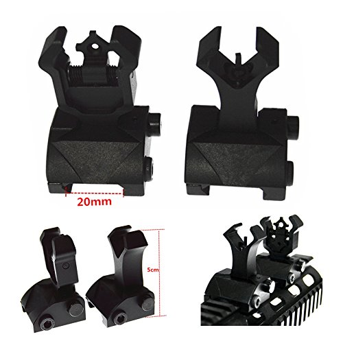 FIRECLUB Premium Tactical Dual Diamond Blende Flip Up Front & Rear Iron Sight Set Dual BUIS Black Flip-blende