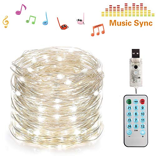 Musik Silver Wire Fairy Light, USB Firefly Lights mit Remote Control Timer, 10M 100 LEDs Sound Activated Holiday Lighting For Christmas Tree Hochzeitsparty Dekoration