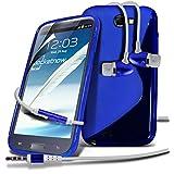 Samsung Galaxy Note 2 N7100 Blue Elegant Premium S-Linie Wellen-Gel-Kasten-Haut-Abdeckung mit LCD-Display Schutzfolie, Poliertuch & Hands Free-Ohrhörer mit Mikrofon Mic & On-Off-Taste Einbau by Spyrox