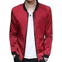 Chaqueta para Hombre Manga Larga Jacket Bomber Abrigo Chaqueta con cremallera L Rojo