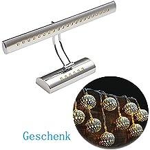 Dailyart 5W LED Spiegelleuchte Spiegelleuchten Wandleuchte Spiegelschrank Leuchte Winkel Einstellbar SMD5050 Edelstahl IP44 fürs Bad - Warmweiß 2700-3000K [Energieklasse A +]