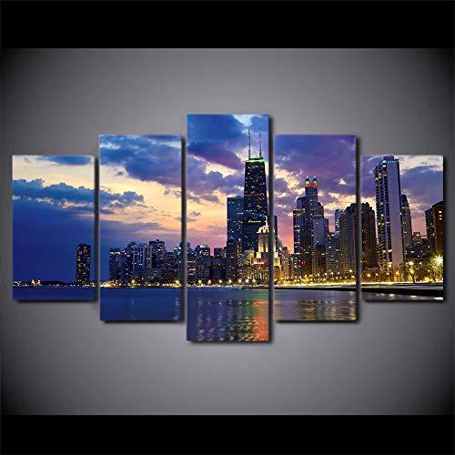 kxdrfz 5 Stücke Leinwand Kunst Beschäftigt Stadt Chicago Abend Poster Leinwand Malerei Wandkunst Bilder Für Wohnzimmer Wohnkultur Duvar Tableau
