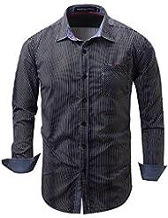 Printemps Automne Hommes Chemise Casual Chemise à bout en bout Chemise en coton pur M-2XL