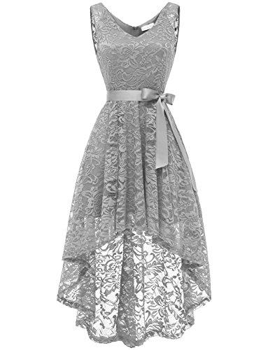 Berylove BLP7018 Damen Cocktailkleid Spitzen V Ausschnitt Ärmellos Elegant Hi-Lo Partykleider Grau...