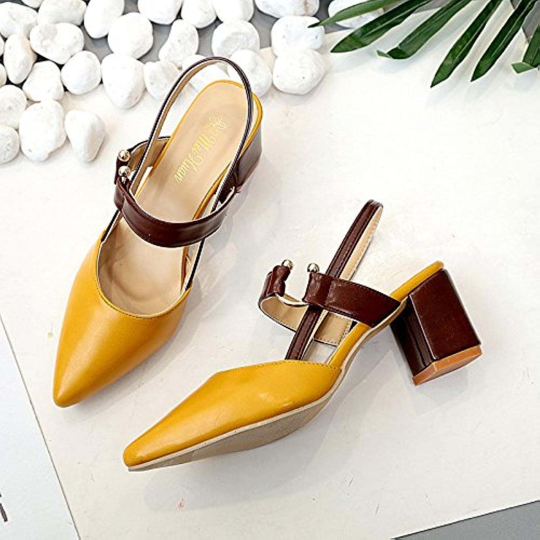 Die High-Heel Schuhe Frauen mit einzelnen Schuhe Baotou Sandalen Tipp ist ausgesetzt die Zitrone Gelb 38